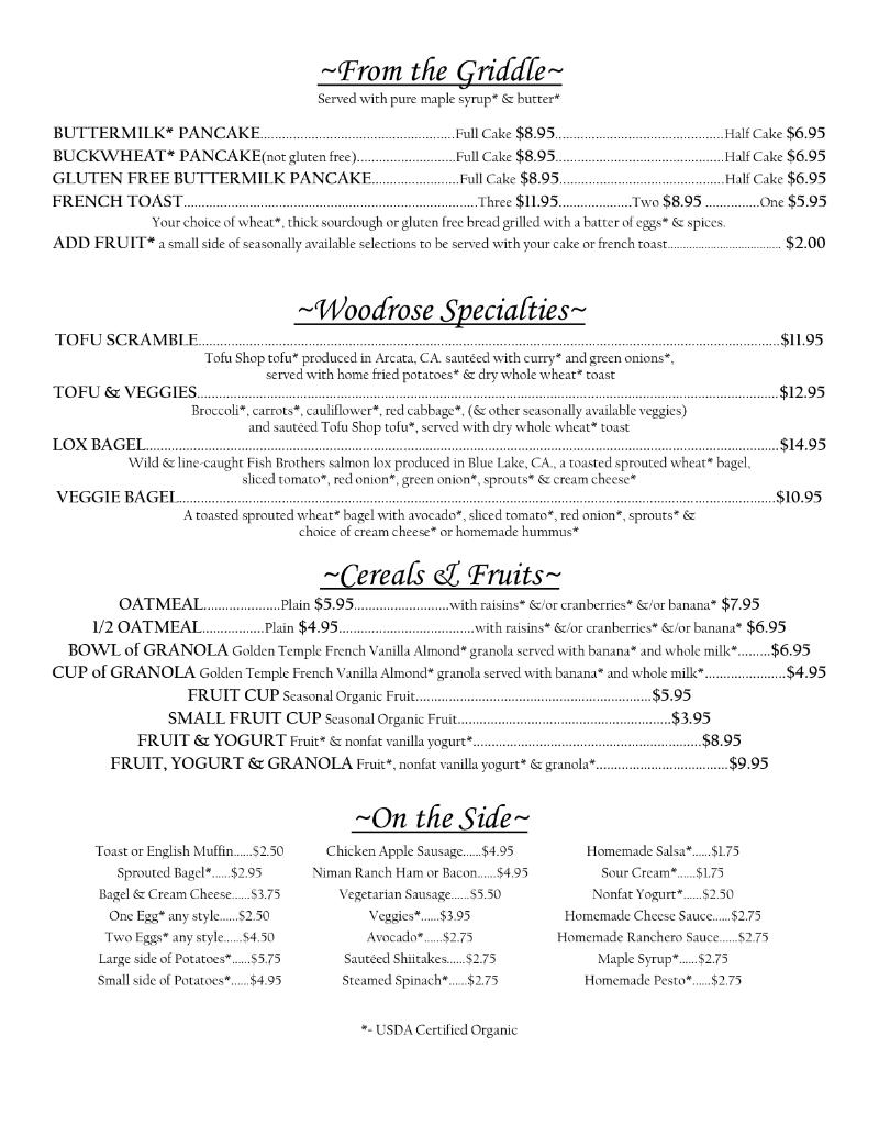 Redwood Cafe Lunch Menu